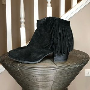 MARC FISHER Suede Fringe Ankle Boots